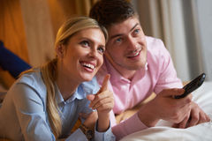 Young couple in modern hotel room Royalty Free Stock Images