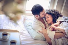 Young couple at morning time. Close up. royalty free stock photography