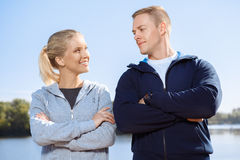Young couple on the morning training. Outdoors Stock Photos