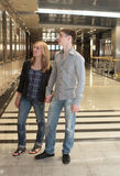 Young couple in Moscow metro art gallery Stock Photography