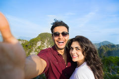 Young Couple Mountain View Point Happy Smiling Man And Woman Taking Selfie Photo On Cell Smart Phone Asian Holiday. Summer Vacation Travel Royalty Free Stock Photography
