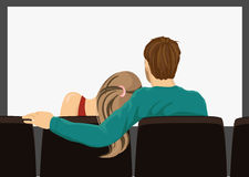 Young couple on a movie date Royalty Free Stock Image