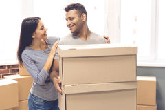 Young couple moving Royalty Free Stock Photos