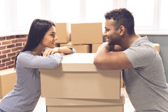 Young couple moving Stock Image