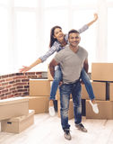 Young couple moving Royalty Free Stock Photography