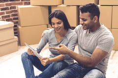 Young couple moving royalty free stock photo