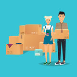 Young Couple Moving. Box for moving, open box. Flat design moder Royalty Free Stock Photography
