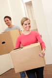 Young couple on moving day Royalty Free Stock Photo