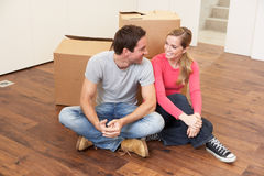 Young couple on moving day Royalty Free Stock Photos
