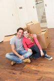 Young couple on moving day Stock Image
