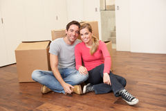 Young couple on moving day Royalty Free Stock Images