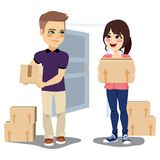 Young Couple Moving Stock Images