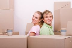 Young couple moving home Royalty Free Stock Images