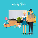 Young Couple Moving. Moving truck and cardboard boxes. Shipping Stock Image