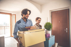 Young couple moving in into new apartment Royalty Free Stock Photo