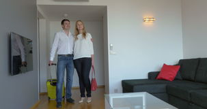 Young Couple Moving in New Flat stock video footage
