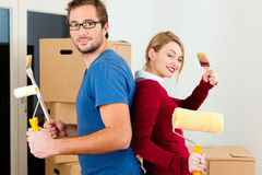 Young couple moving in new home Royalty Free Stock Photography