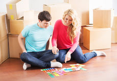 Young couple moving into a new home Royalty Free Stock Photography