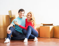Young couple moving into a new home Stock Photography