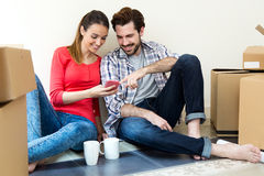 Young couple moving in new home Royalty Free Stock Image