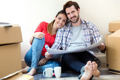 Young couple moving in new home Stock Image
