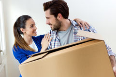 Young couple moving in new home Stock Photography
