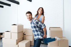 Young couple moving in new house Royalty Free Stock Photography