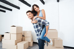Young couple moving in new house Royalty Free Stock Image