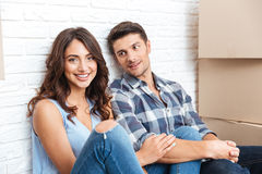 Young couple moving in new house Stock Photography