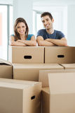 Young couple moving in their new home Royalty Free Stock Photography
