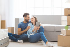 Young couple moving to a new apartment together relocation Stock Image
