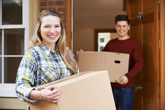 Young Couple Moving In To New Home Together royalty free stock photography