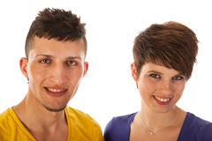 Young couple. Young multi cultural couple isolated over white background royalty free stock image