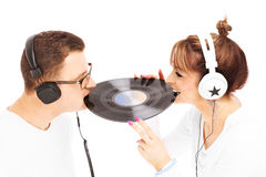 Young couple and music Royalty Free Stock Image