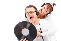 Young couple and music Royalty Free Stock Photography