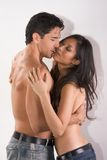 Young couple naked Man and woman in love kissing Royalty Free Stock Photo