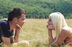 Young couple in nature Royalty Free Stock Images