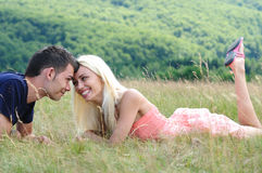 Young couple in nature Royalty Free Stock Image
