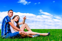 Young couple in nature Stock Photo