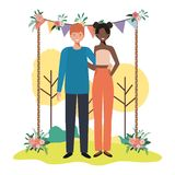 Young couple in nature royalty free illustration