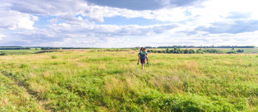 Young couple on the nature of the view from the top. Young happy couple in nature top view Shooting with the Drone stock photography