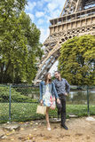 Young Couple Near the Eiffel Tower Stock Photos