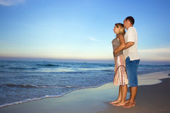Young couple near the ocean royalty free stock photo