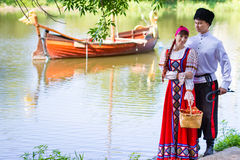 Young couple near the river Royalty Free Stock Photo
