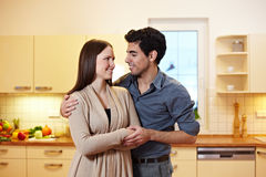 Young couple in new appartment Stock Images