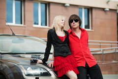 Young couple with a new car. Stock Photography