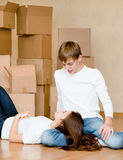 Young couple in new home Royalty Free Stock Images