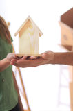 Young couple and new home. Young couple purchase new home Royalty Free Stock Image