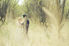 Young couple, newly wedded, dressed in retro style Royalty Free Stock Photo