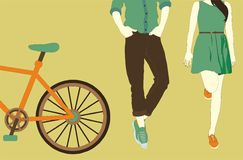Young couple next to a bike. Young couple standing next to their bike, vector illustration Stock Image